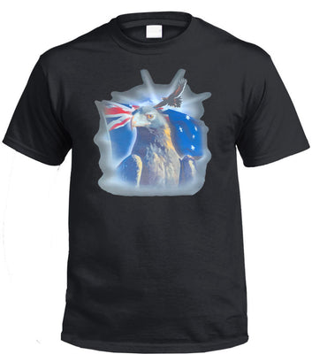 Australian Flag Wedge Tail Eagle T-Shirt (Black)