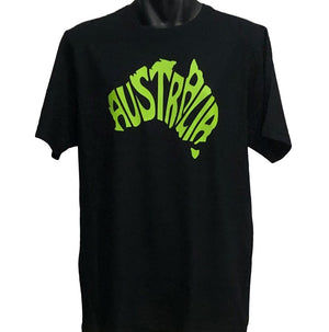 Australia In Map Shape T-Shirt (Black, Regular and Big Sizes)