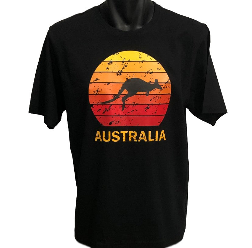 Kangaroo Sunset Australia T-Shirt (Black, Regular and Big Sizes)