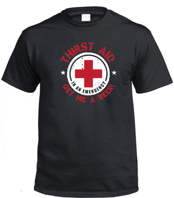 Thirst Aid Beer T-Shirt (Black, Regular and Big Sizes)