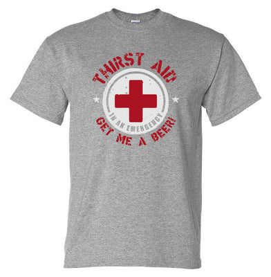 Thirst Aid Beer T-Shirt (Marle Grey, Regular and Big Sizes)