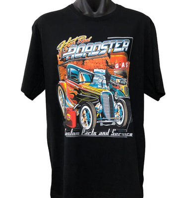 Hot Rod Roadster T-Shirt (Black, Regular and Big Sizes)