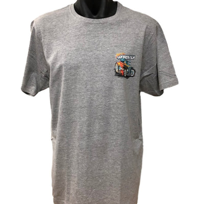 Hot Rod Roadster Small Logo T-Shirt (Marle Grey, Regular and Big Sizes)