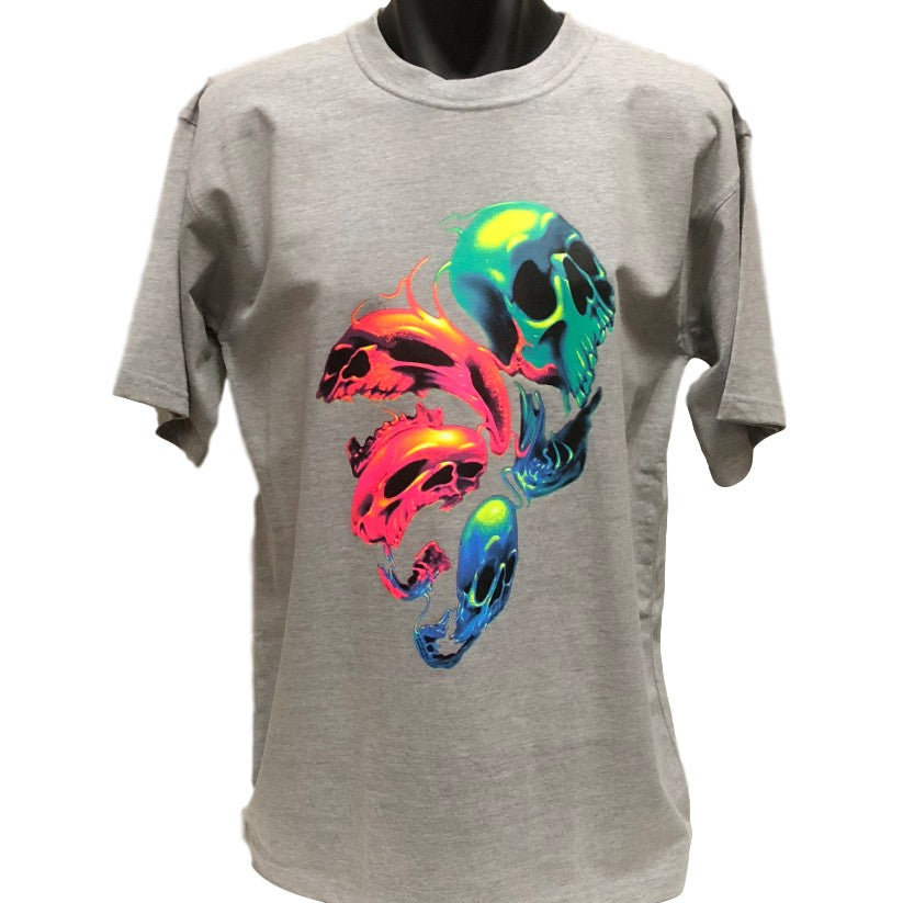 Distorted Neon Skulls T-Shirt (Marle Grey, Regular and Big Sizes)