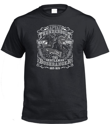 Captain Thunderbolt Gentleman Bushranger T-Shirt (Black)
