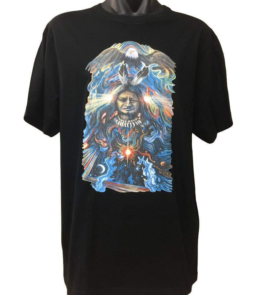 Native American Eagle Spirit T-Shirt (Black, Regular and Big Sizes)