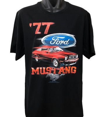 Ford Mustang 77 T-Shirt (Black, Regular and Big Sizes)