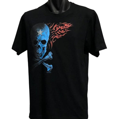 Starred Blue Skull T-Shirt (Black, Regular and Big Sizes)
