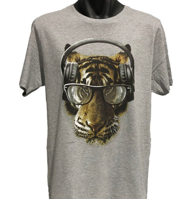 Freaky Tiger T-Shirt (Grey, Regular and Big Sizes)