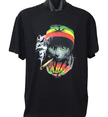 Rasta Cat T-Shirt (Regular and Big Sizes)