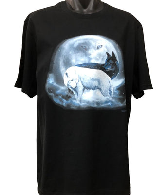 Yin Yang Wolves T-Shirt (Black, Regular and Big Sizes)