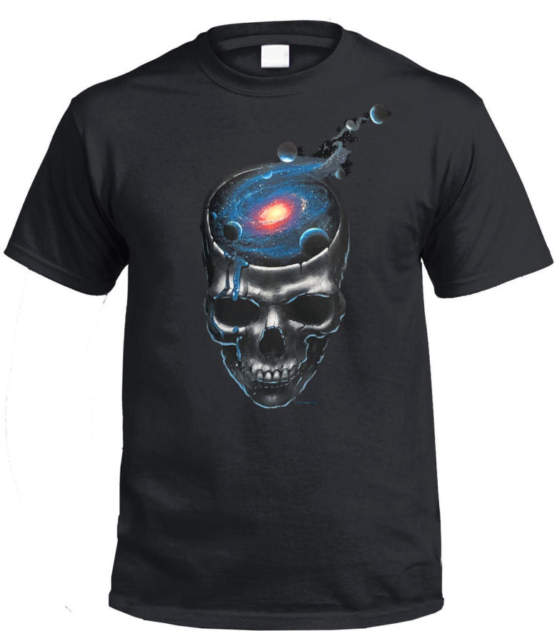 Spaced Out Skull T-Shirt (Black, Regular and Big Sizes)