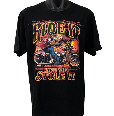 Ride It Like You Stole It Hog T-Shirt (Black, Regular and Big Sizes)