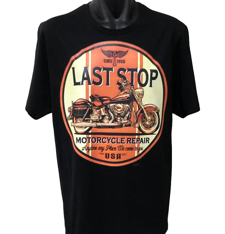 Last Stop Motorcycle Repair T-Shirt (Black, Regular and Big Sizes)