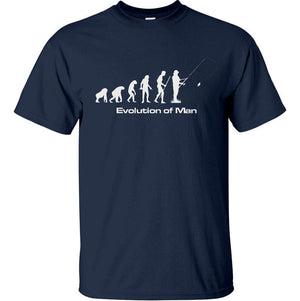 Evolution of Man Fishing T-Shirt (Navy, Regular and Big Sizes)
