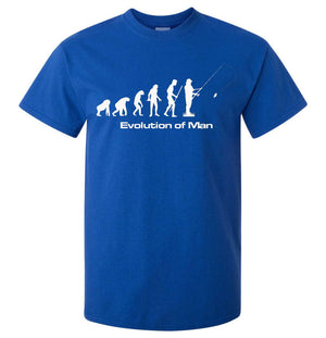 Evolution of Man Fishing T-Shirt (Royal Blue, Regular and Big Sizes)