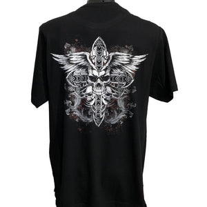 Skull Cross T-Shirt (Black, Back Print, Regular and Big Sizes)