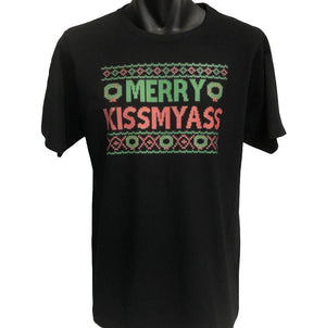 Merry Kissmyass Christmas T-Shirt (Black)