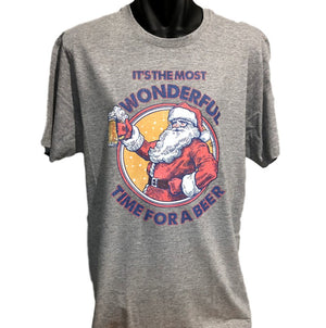 Most Wonderful Time for a Beer Santa T-Shirt (Marle Grey)