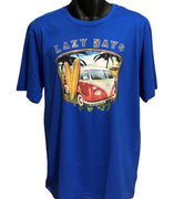 Lazy Days Surf T-Shirt (Royal Blue, Regular and Big Sizes)