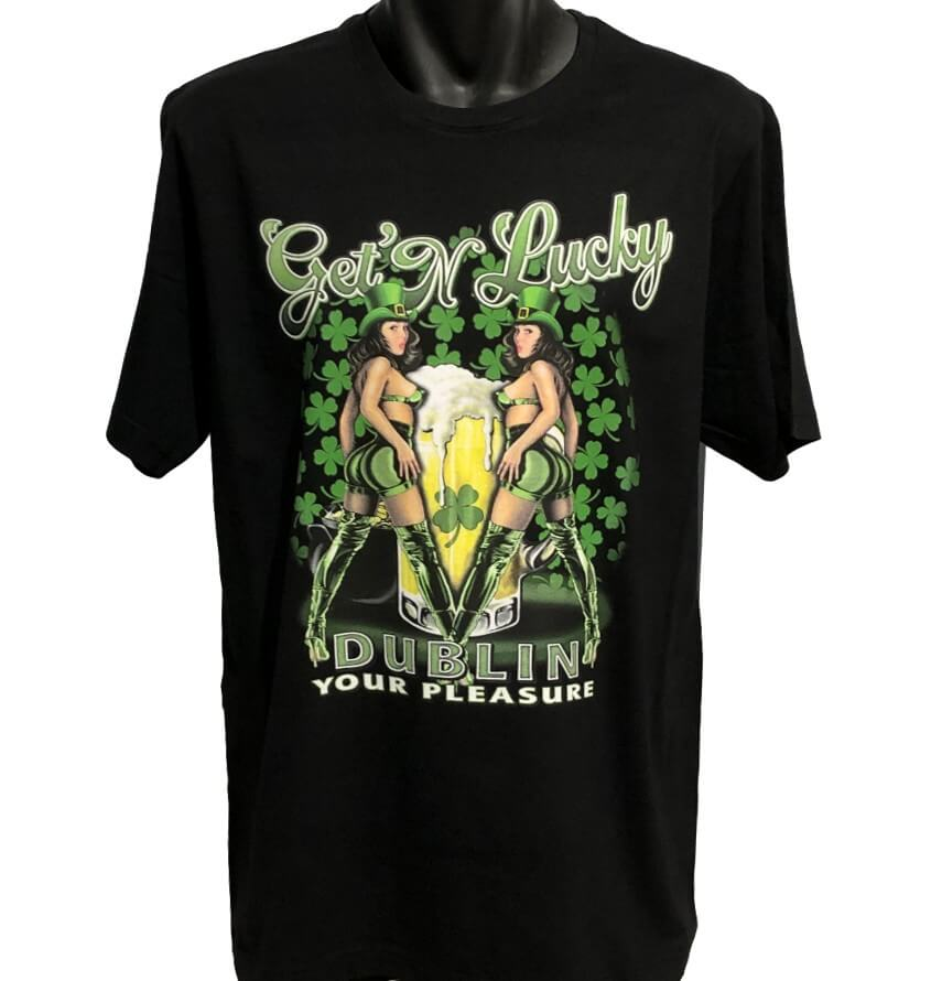 Get'N Lucky Pinup Girl T-Shirt (Black, Regular and Big Sizes)