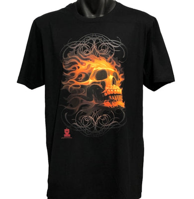 Fire Skull T-Shirt (Black, Regular and Big Sizes)