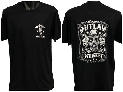 Outlaw Whiskey T-Shirt (Double-Sided, Black)