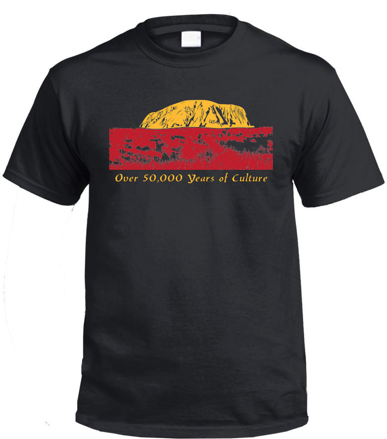 Over 50000 Years of Aboriginal Culture T-Shirt (Black, Regular and Big Sizes)