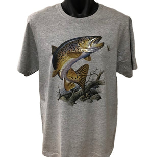 Brown Trout Fly Fishing T-Shirt (Marle Grey, Regular and Big Sizes)