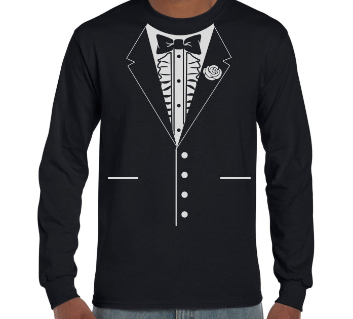Bow Tie Tuxedo Long Sleeve T-Shirt (Regular and Big Sizes)