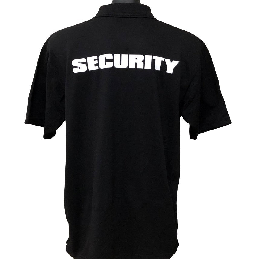 Event Security Men's Polo Shirt (Black) - Back Print
