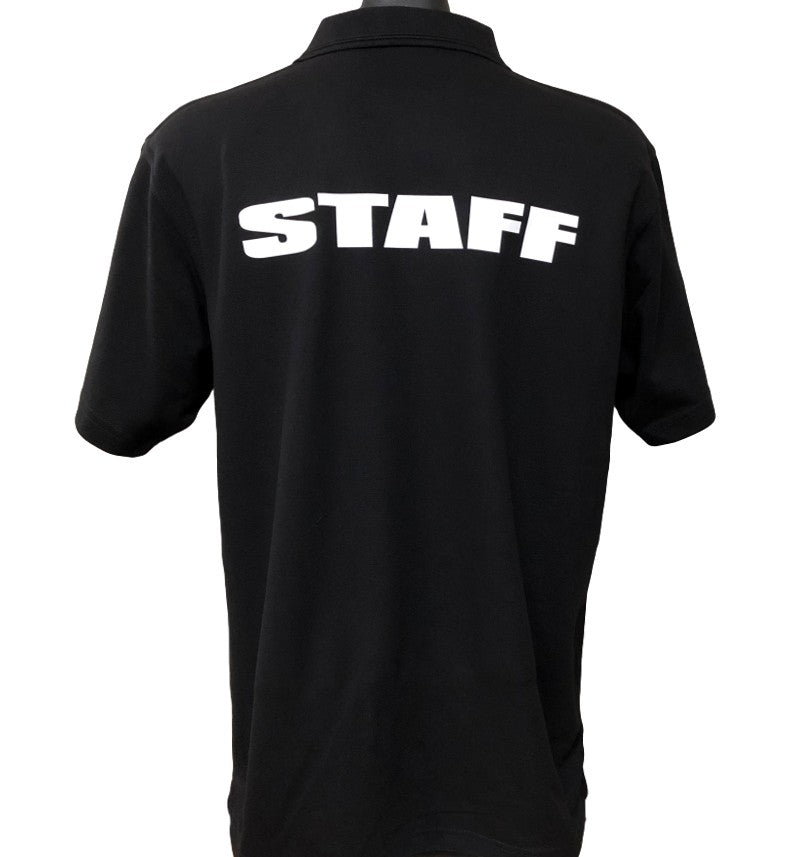 Event Staff Men's Polo Shirt (Black)  - Back Print