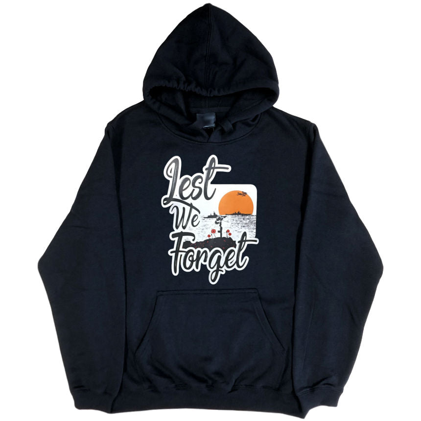 Lest We Forget Logo Hoodie (Black, Regular and Big Sizes)