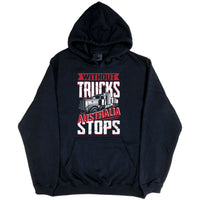 Without Trucks Australia Stops! Hoodie (Black, Regular and Big Sizes)