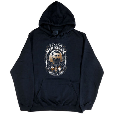 Ned Kelly Outlaw Gang Hoodie (Black, Regular and Big Sizes)