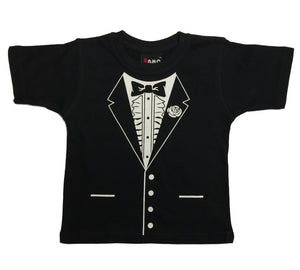 Childrens Bow Tie Style Tuxedo T-Shirt (Black)