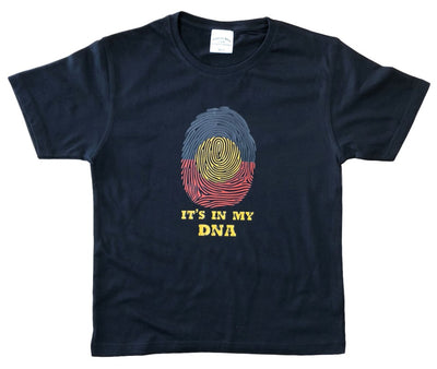 Childrens Aboriginal Flag In My DNA T-Shirt (Black)