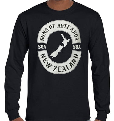 Sons of Aotearoa NZ Map Longsleeve T-Shirt (Black)