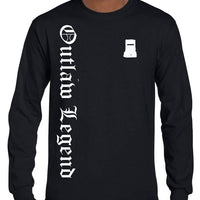 Ned Kelly Outlaw Legend Olde Text Longsleeve T-Shirt (Black, Regular and Big Sizes)