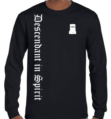Ned Kelly Descendant in Spirit Olde Text Longsleeve T-Shirt (Black, Regular and Big Sizes)