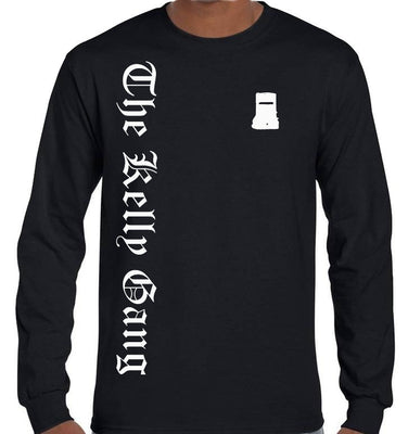 The Kelly Gang Olde Text Longsleeve T-Shirt (Black, Regular and Big Sizes)