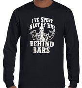 Behind Bars Biker Longsleeve T-Shirt (Black, Regular and Big Sizes)