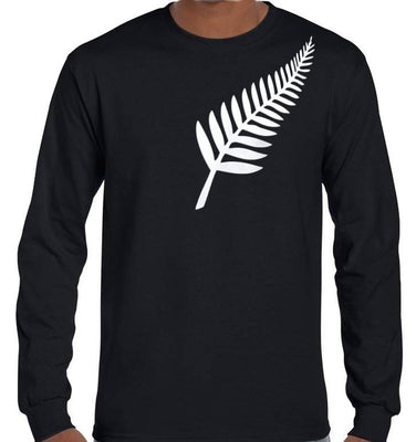 Silver Fern Longsleeve T-Shirt (Black, Regular and Big Mens Sizes)