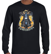 Ned Kelly Motorcycle Rider Longsleeve T-Shirt (Black, Regular and Big Sizes)