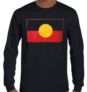 Aboriginal Flag Longsleeve T-Shirt (Black, Regular and Big Sizes)