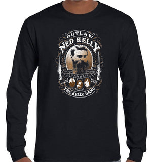 Ned Kelly Outlaw Gang Longsleeve T-Shirt (Black, Regular and Big Sizes)