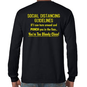 Social Distancing Guidelines Longsleeve T-Shirt (Black, Back Print)
