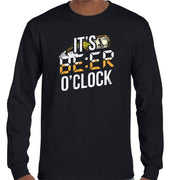 It's Beer O'Clock Longsleeve T-Shirt (Black, Regular and Big Sizes)