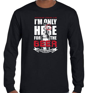 Only Here for the Beer Longsleeve T-Shirt (Black, Regular and Big Sizes)