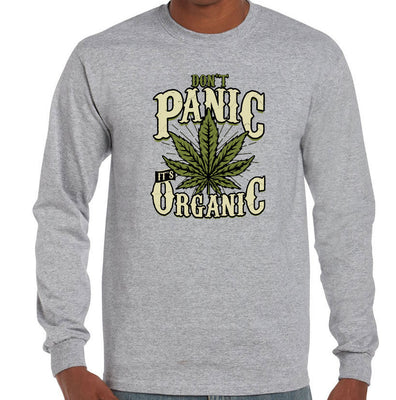 Don't Panic, It's Organic Pot Longsleeve T-Shirt (Grey)
